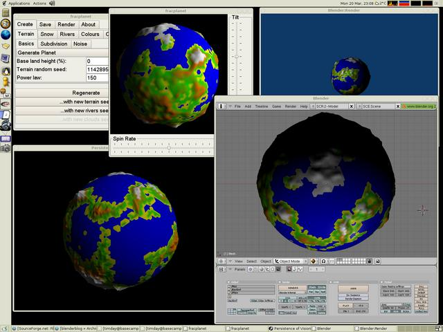 Screenshot of fracplanet, POV-Ray and Blender